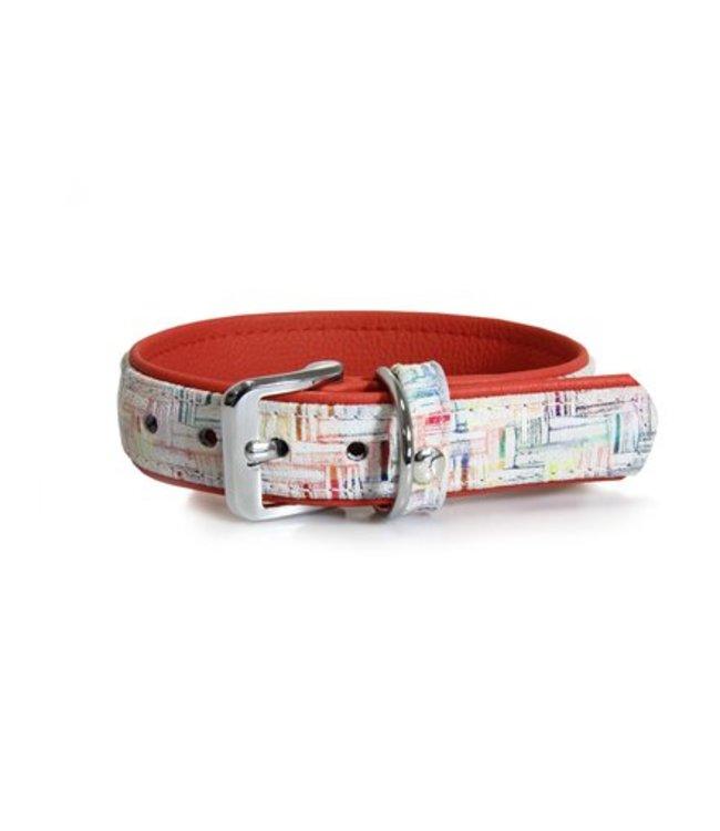 Das Lederband collar Casablanca Chalk / Rubyred