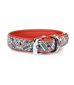 Das Lederband collar Casablanca Mosaik / Rubyred