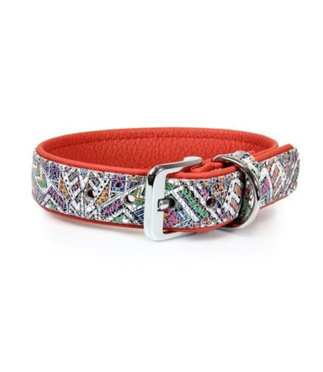 Das Lederband collar Casablanca Mosaik / Rubyred
