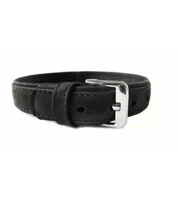 Das Lederband halsband Boston (D-Ring in het midden), zwart