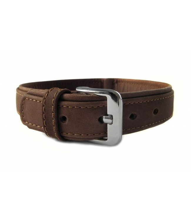Das Lederband collar Boston (D-Ring in the middle), mocca