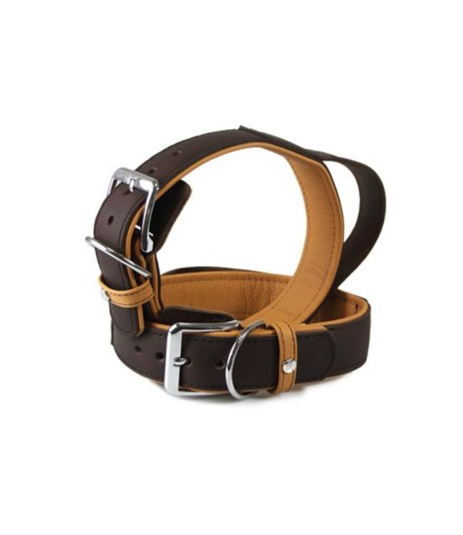 Das Lederband Collar with handle type C Vancouver, mocca / caramel