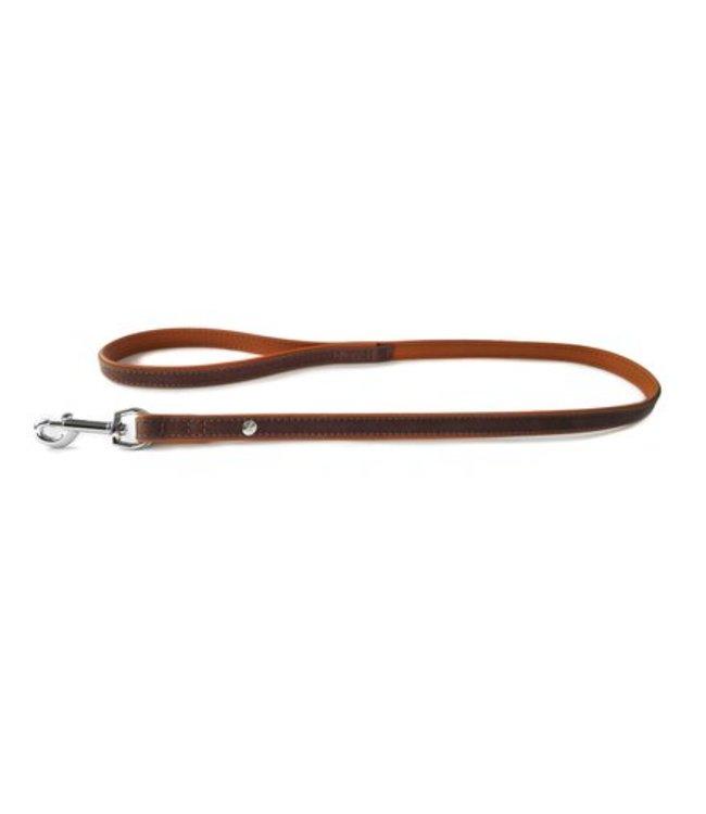 Das Lederband dog leash Roma, Mocca / Cognac