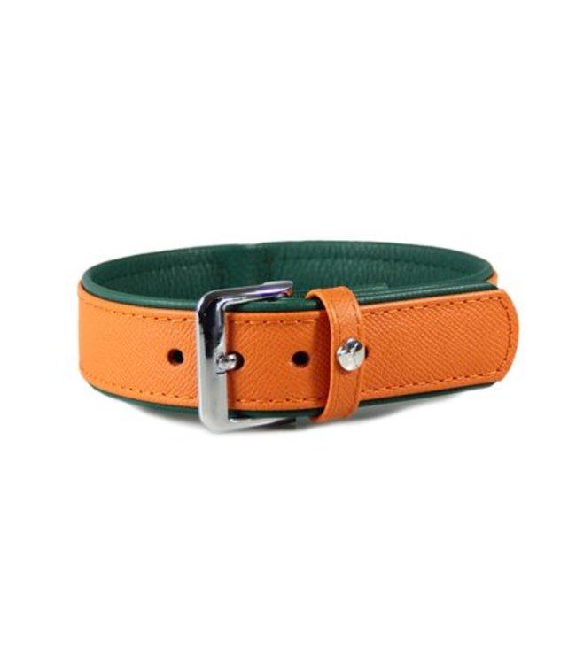 Das Lederband collar Firenze, Orange / Forest
