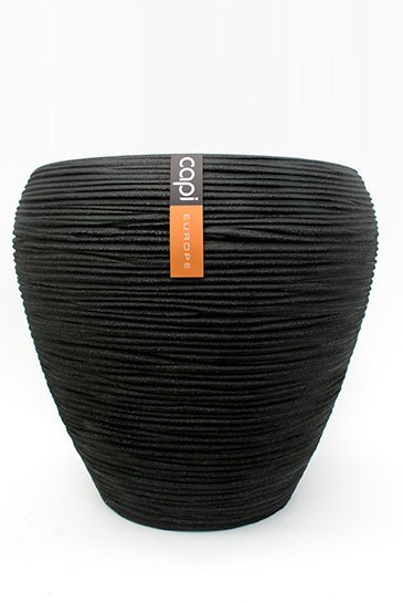 Capi Tutch Rib Vaas taps rond zwart (Capi Europe)