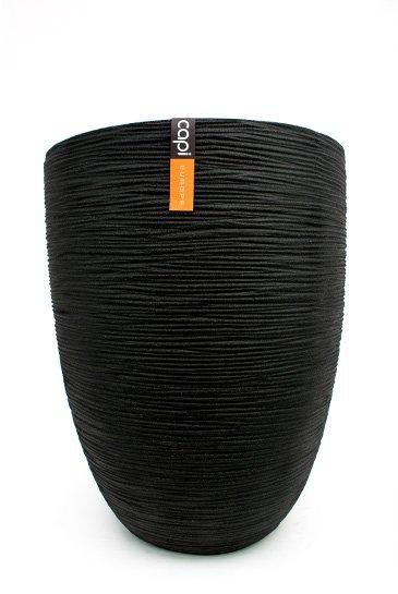 Capi Tutch Rib Vaas elegant laag zwart (Capi Europe)
