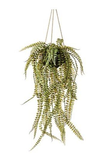 Kunstplant Fern On iron stand round hanging - Zijdeplant