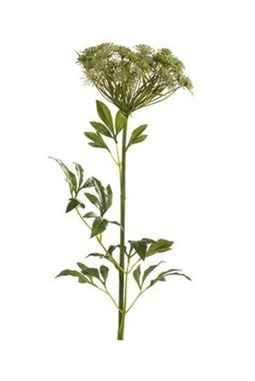 Kunstplant Dille Tak wit/groen - Zijdeplant