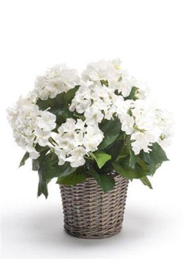 Kunstplant Hortensia White  - Zijdeplant