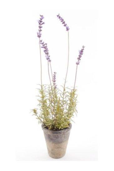 Kunstplant Lavender patio In antique pot - Zijdeplant