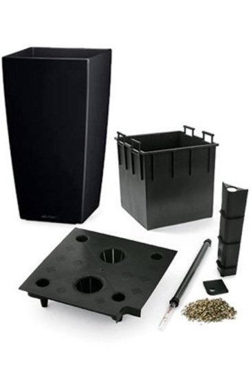Lechuza Cubico Set zwart glans (Kunststof plantenbak)
