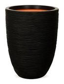 Capi Rib Vaas elegant laag zwart