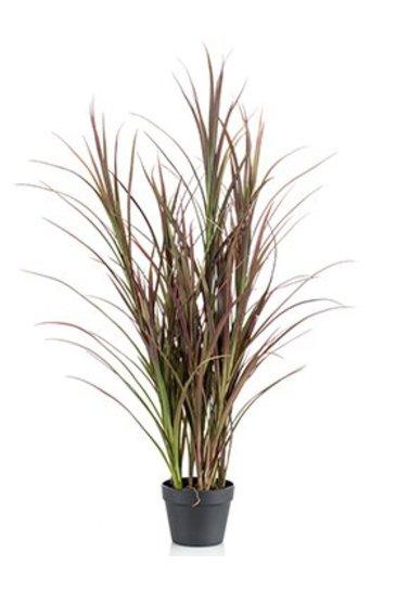 Kunstplant Grass Bush burgundy green in plastic pot (UV-bestendig)