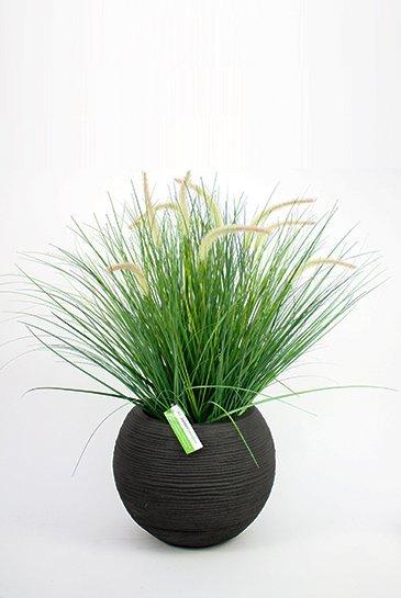Kunstplant Pennisetum Woodside - (Zijdeplant) - in Capi Tutch Rib Vaas bol zwart