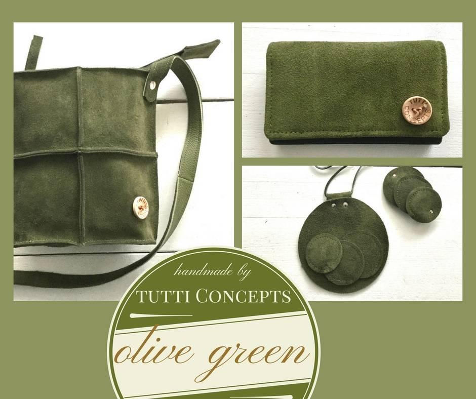COLOR Green suede bag