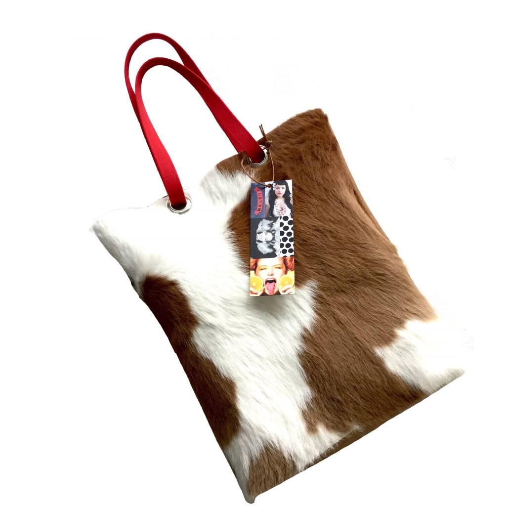 COLOR  Bruin witte koeienhuid shopper