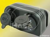 HABA Opbouw 12v stekkerdoos + 2x USB lader