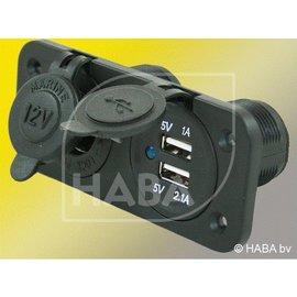 HABA Inbouw 12 vstekkerdoos + 2x USB lader