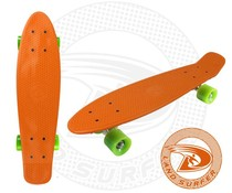 Land Surfer skateboard orange with green wheels