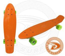 Land Surfer skateboard orange with green wheels