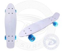 Land Surfer fish skateboard wit met blauwe wielen