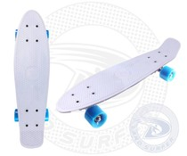 Land Surfer skateboard white with blue wheels