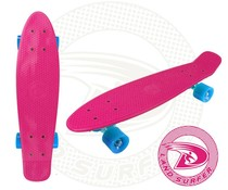 Land Surfer skateboard pink with blue wheels