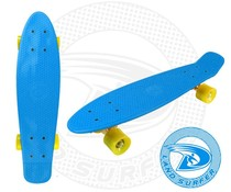 Land Surfer skateboard blue with yellow wheels