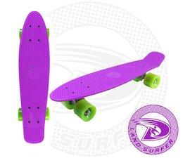 Land Surfer skateboard purple with green wheels