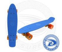 Land Surfer skateboard blue with orange wheels