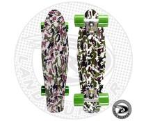 """Land Surfer fish skateboard """"army"""" met groene wielen"""