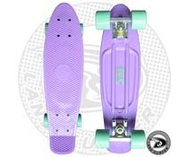 Land Surfer fish skateboard pastel purple with mint green wheels