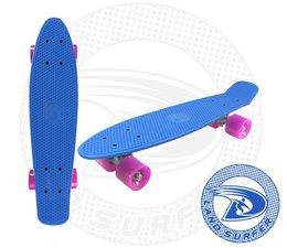 Land Surfer skateboard blue with pink wheels