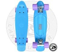 Land Surfer fish skateboard pastel blauw met pastel paarse wielen
