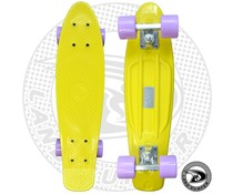 Land Surfer fish skateboard geel met pastel paarse wielen