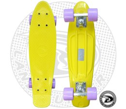 Land Surfer skateboard yellow with pastel purple wheels