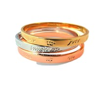 Speechless Jewelry Three bracelets with quotes - Silver, Rosé and Gold Colored