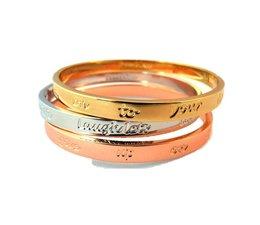 Speechless Jewelry - Drie armbanden met quotes - Verguld Zilver, Rosé en Goudkleurig