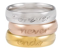 Speechless Jewelry Three Rings with quotes - Silver, Rosé and Gold Colored