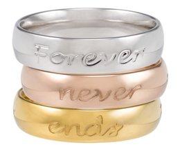 Speechless Jewelry - Drie ringen met quotes - Verguld Zilver, Rosé en Goudkleurig