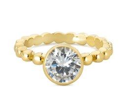 Speechless Jewelry - Ring - Bolletjes met zirkonia steen - Verguld Goudkleurig