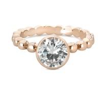 Speechless Jewelry Ring - Bolletjes met zirkonia steen - Verguld Rosékleurig
