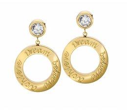 Speechless Jewelry Nieuw! Oorbellen - Dream Believe Achieve - Verguld Goudkleurig