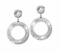 Speechless Jewelry Earrings - Dream Believe Achieve - Silver Colored