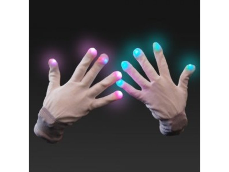Breaklight Multicolor LED Gloves- White