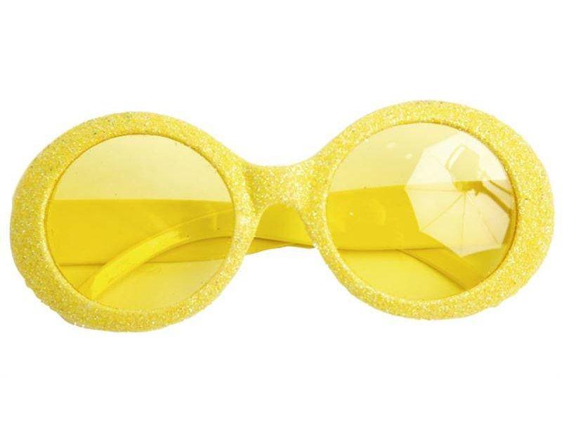 Glasses Disco Glitter Neon Yellow