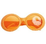 Glasses Disco Glitter Neon Orange