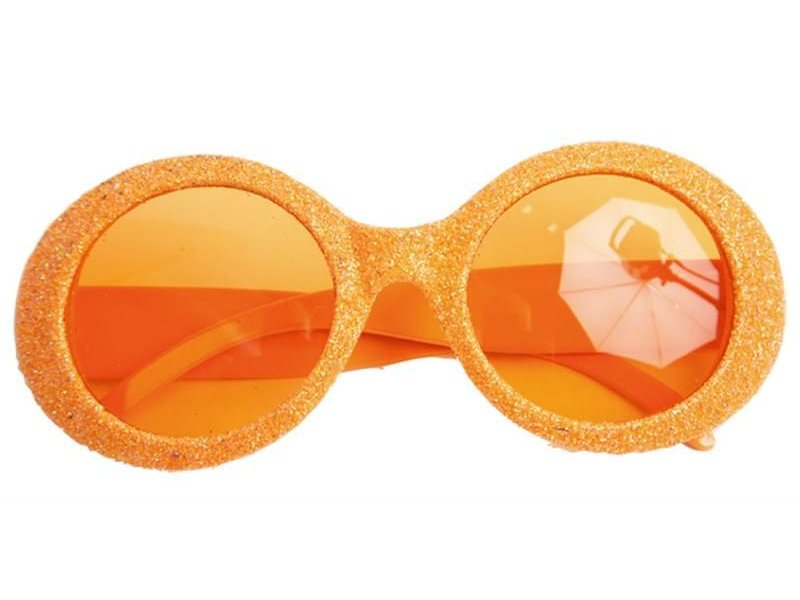 Glasses Disco Glitter Neon Orange