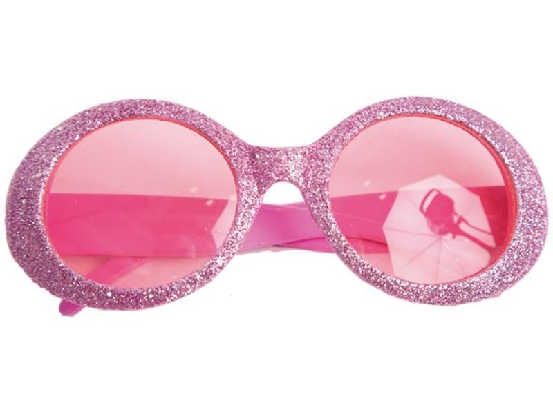 Glasses Disco Glitter Neon Pink