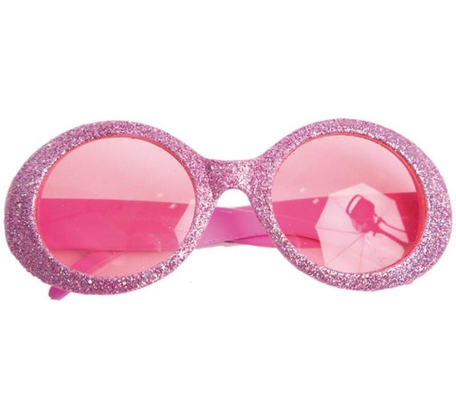 Bril Disco Glitter Neon Roze